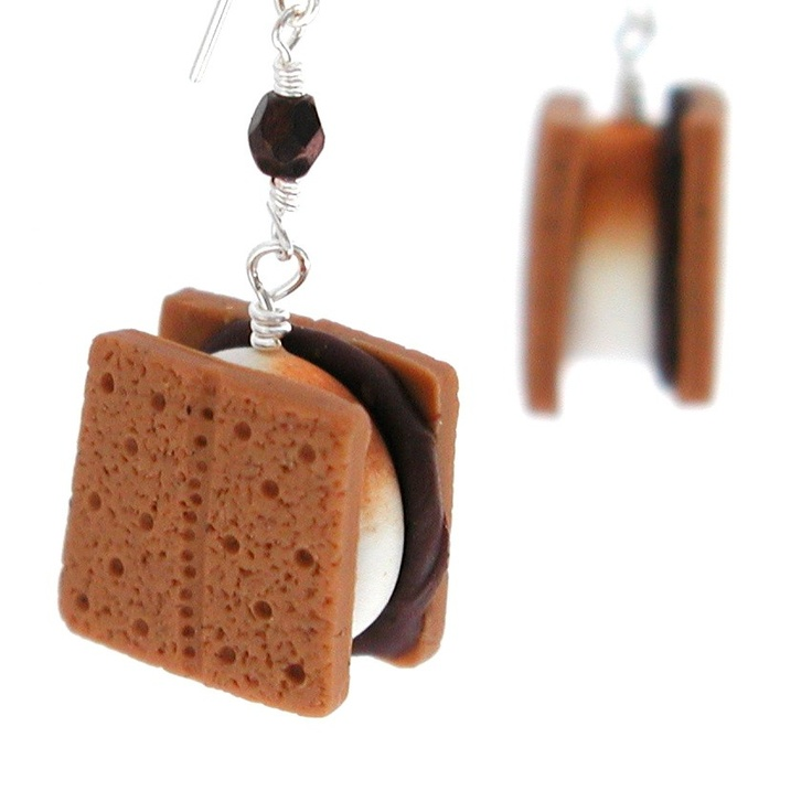 Smores earrings. inedible jewelry