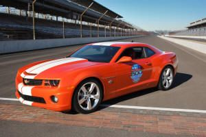 Chevy Camaro SS to pace 2010 Indy 500 The 2010 Chevy Camaro Indianapolis 500 Pace Car is a 21st century sports car that looks to the future with a nod to the heritage of both the car and the race. The first year for Camaro to pace the Indianapolis 500 was in 1967, the year the Camaro made its debut. Camaro has since paced the race in 1969, 1982, 1993 and 2009. This year's pace car is equipped with a stock 400 hp 6.2-litre V-8, an RS appearance package.