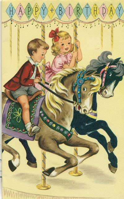Happy Birthday card with children on carousel horses