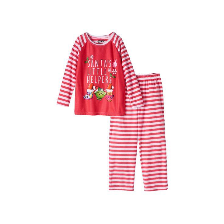 "Girls 4-12 Shopkins Sneaky Wedge, Apple Blossom & Lippy Lips ""Santa's Little Helper"" Holiday Pajama Set, Girl's, Size: 7-8, White Oth"