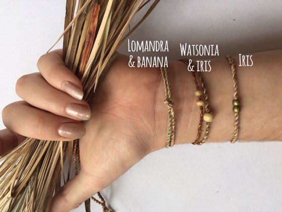 Image of Grass bracelets. Mixed fibre and styles