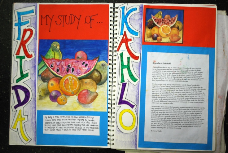 Artist Research into Frida Kahlo, it has FACTS and OPINION on the artist's work, printed images of the artist's work and an accurate PASTICHE. And the page itself is a home for the artist, the colours and designs show some undertsanding of the artist's work.