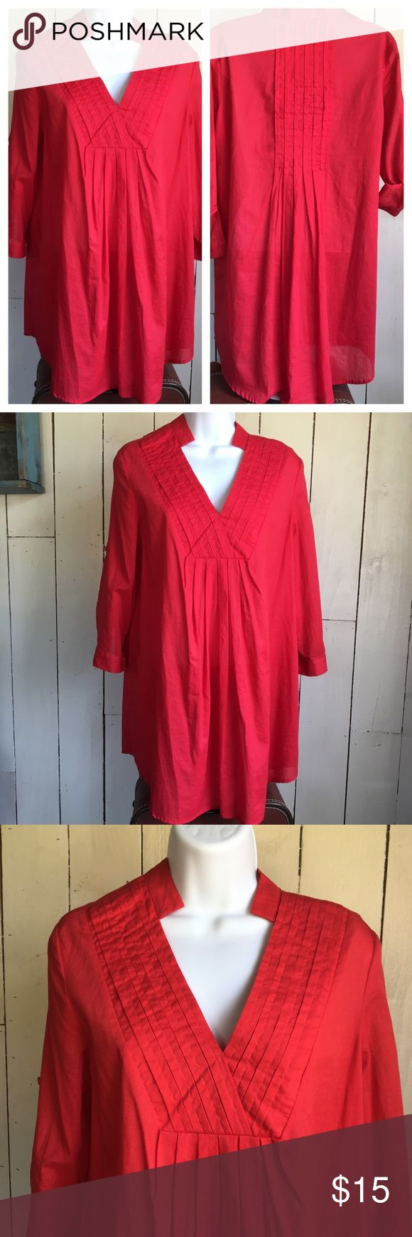 Red Maternity Tunic Top 23rdSt Stylish red maternity tunic by 23rdSt. In very nice condition. The fabric is light and cool 100% cotton. 3/4 Sleeve that can be rolled and buttoned above the elbow. There are loops for an added belt if desired. The fabric is not shiny, that is a lighting issue in the photograph. Please let me know if you have any questions. Make an offer or Place this top in a bundle for a personal discount offer.  (118) 23rd Street Tops Tunics
