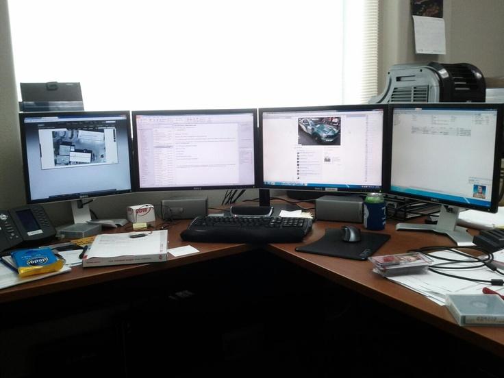 4 monitor setup multi monitor setup i like pinterest for Best home office monitor setup