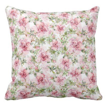 White Lace over Pink Roses Cottage Throw Pillow - decor gifts diy home & living cyo giftidea