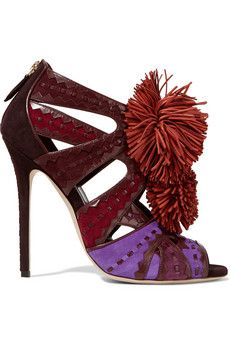 Brian Atwood Vivyan embellished leather-trimmed suede sandals | THE OUTNET