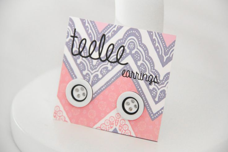 Black & White Button Earrings - Teelee - A Bits & Bobs Brand
