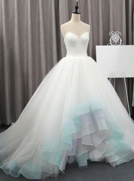 Colored Wedding Dresses, Tulle Bridal Gown, Unique Bridal Gown, WD00160