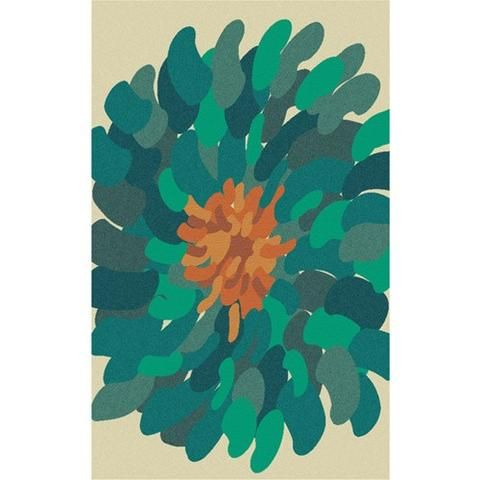 Bombay Collection New Zealand Wool Area Rug in Bone and Deep Sea Green design by Surya