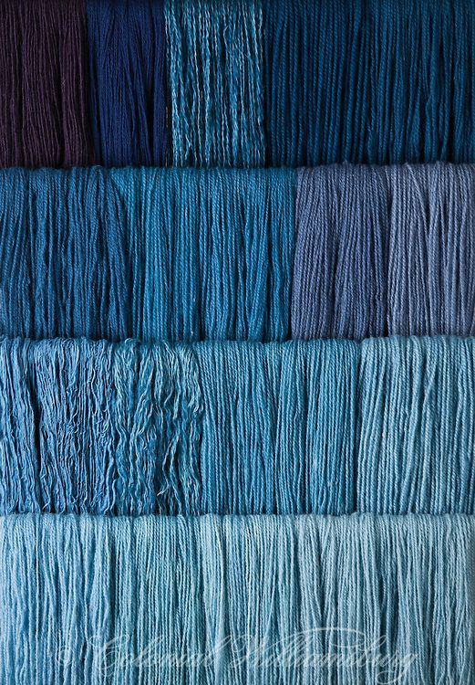 Studio photography of various colors of yarn dyed at the Weaver's shop. Shot for book by Max Hamerick on dyeing textiles; Blue dyed with Indigo Photo by Barbara Temple Lombardi