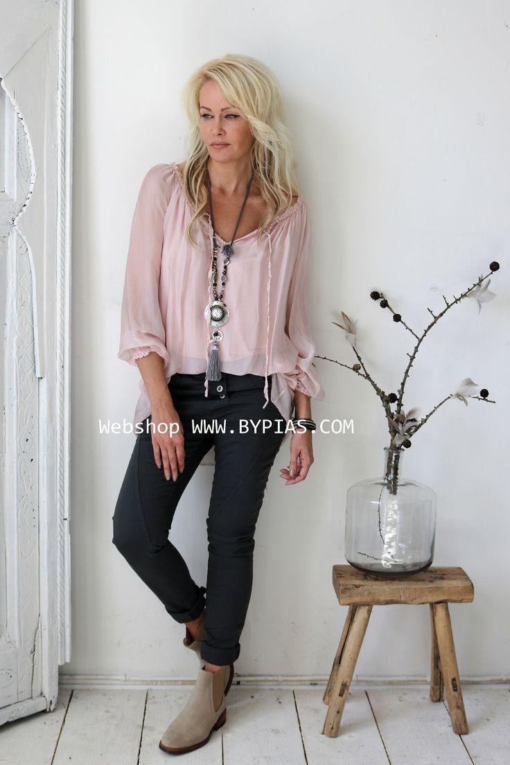 RAIN Silk blouse, Light pink – BOHEMIANA – BYPIAS