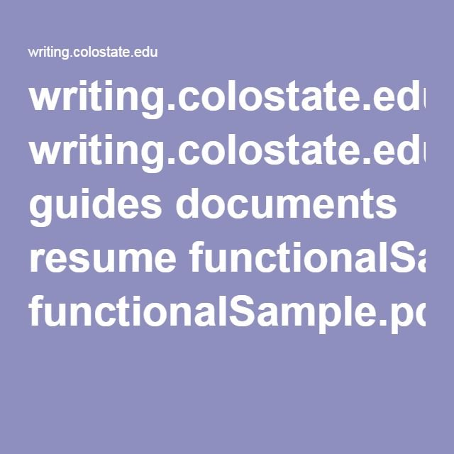 writingcolostateedu guides documents resume functionalsamplepdf functional resume