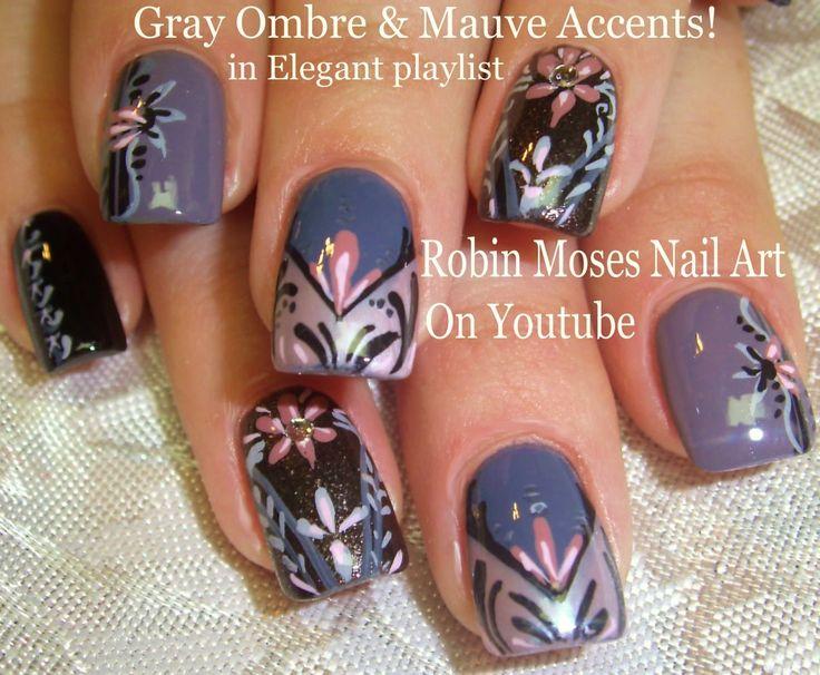 5 Nail Art Tutorials   DIY Nail Art Design   Gray & Mauve Elegant Ombre ...