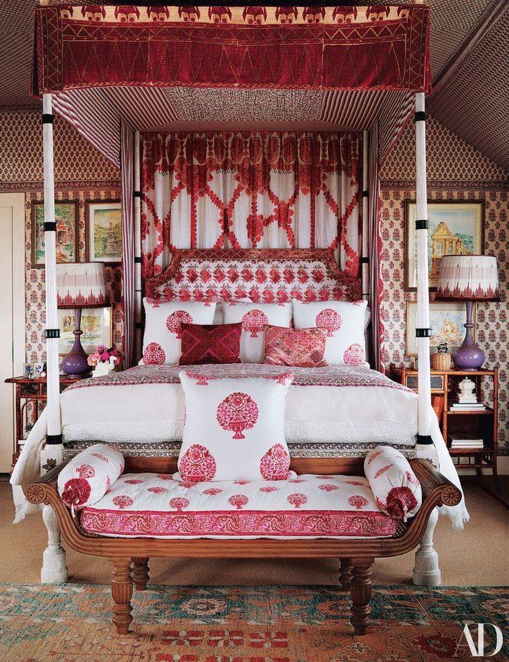 indian bedroom furniture catalogue%0A The masterbedroom walls and John Rosselli  u     Assoc  fourposter are dressed  in custom Marino Fabrics  The coverlet is of an Indian textile the couple  found