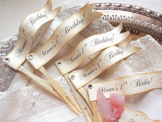 Birthday Flags. 12 Custom Personalized Flag Cupcake Toppers with Rhinestones