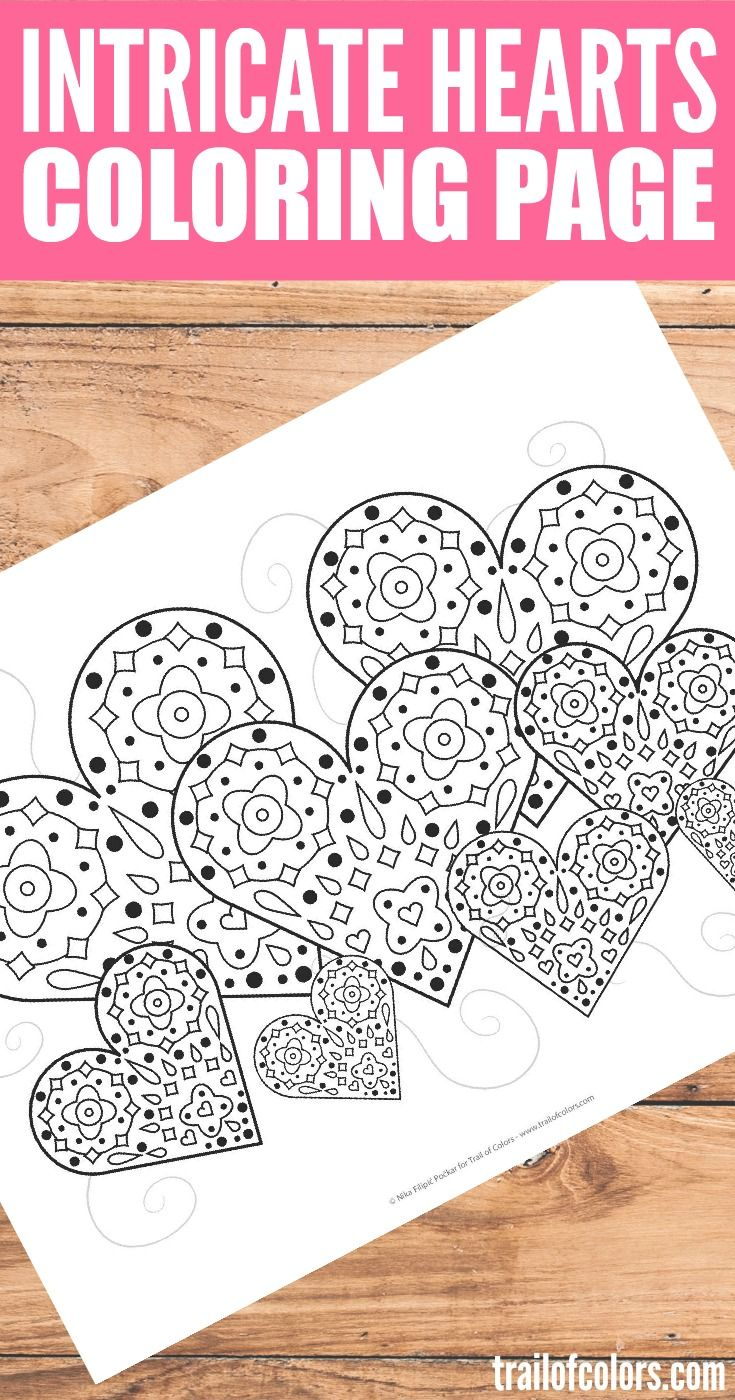 intricate hearts coloring page - Intricate Coloring Pages Kids