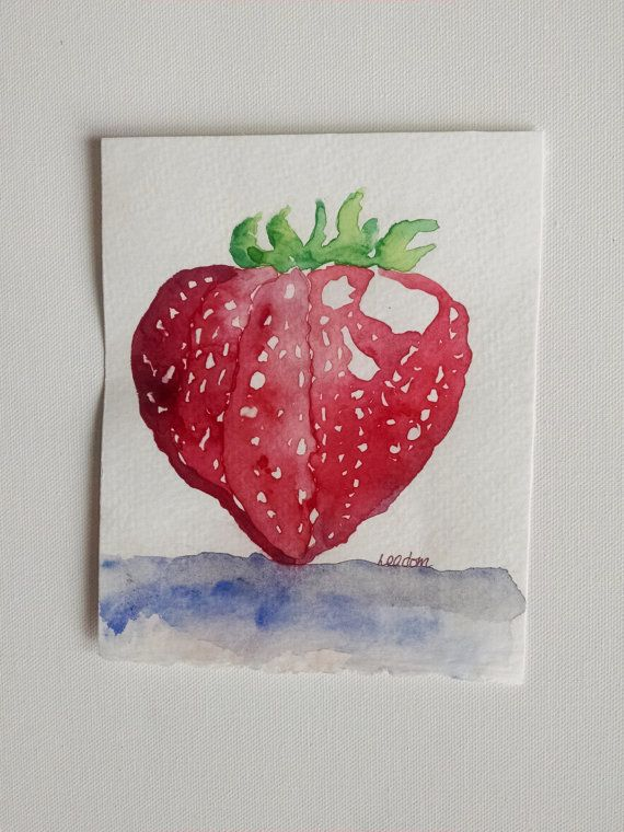 Strawberry Watercolor Original Painting By FascinationGallery. Fruit  PaintingKitchen ...