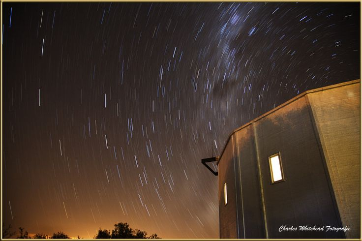 Star Trail Boyden Sterrewag.  Photograph by Charles Whitehead