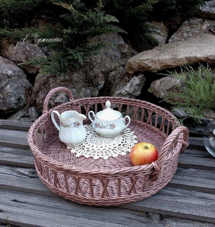 Купить Поднос плетеный Девоншир - поднос в подарок, плетение из бумаги, купить поднос, красивый поднос