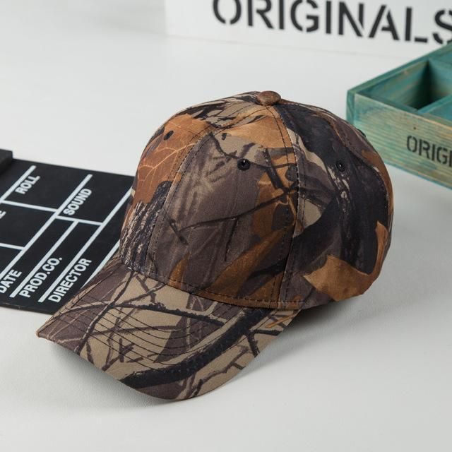 Men Camo Leaves Shrub Printed Camouflage Adjustable Hat Outdoor Field Camping Desert Jungle Woodland Hat Dad Baseball Bucket Cap
