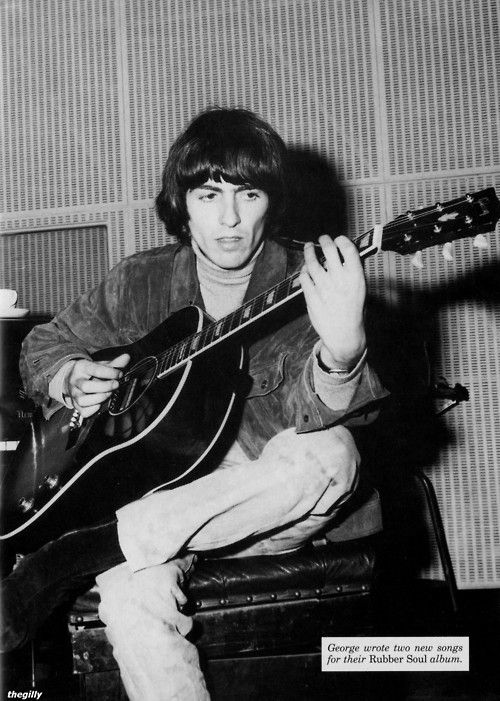 George at EMI Studios during the Rubber Soul sessions, 1965. Scan from Beatles Book Monthly No. 312.