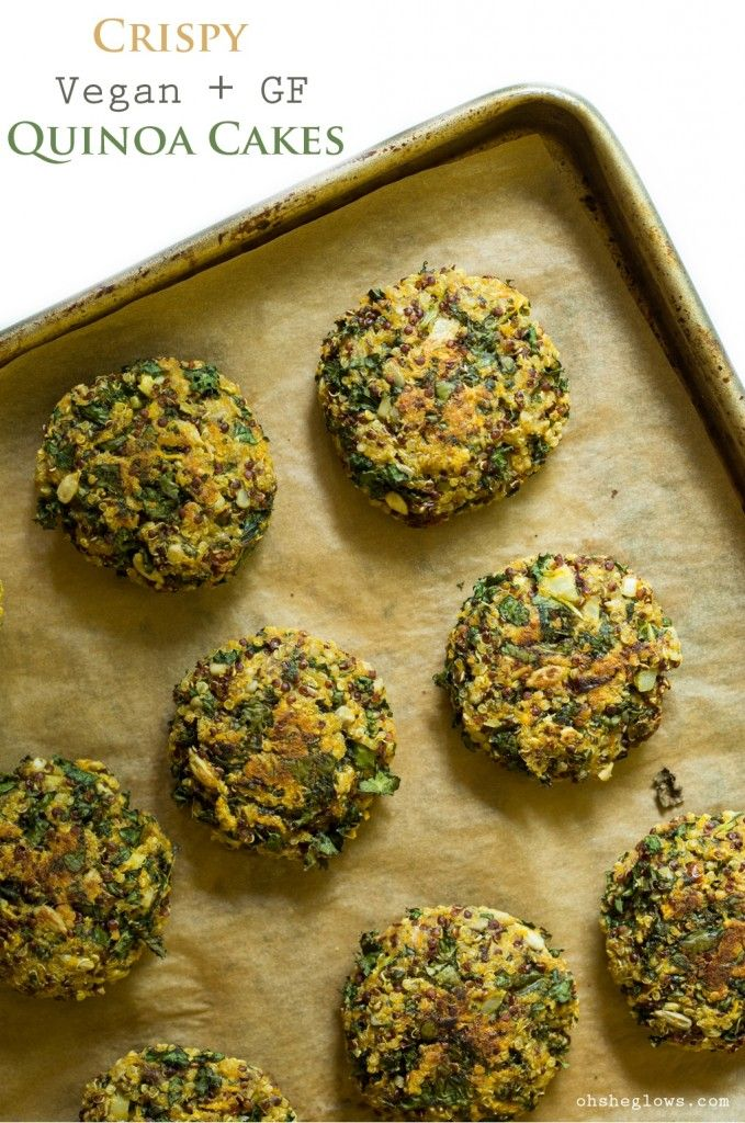 Crispy Quinoa Veggie Cakes - Vegan, gluten-free, nut-free! Find the recipe on Oh She Glows. [Oh my!!!  This looks AMAZING! Try with #FairTrade!]: Crispy Quinoa Cakes, Oh She Glow, Ohsheglow, Vegans Gluten Free, Vegan Gluten Free, Vegans Recipes, Nut Free, Cakes Vegans, Vegans Food