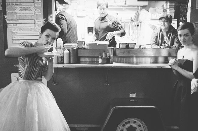 food truck wedding reception Pop culture vintage wedding From Green Wedding Shoes Photo by The Nickersons http://food-trucks-for-sale.com/