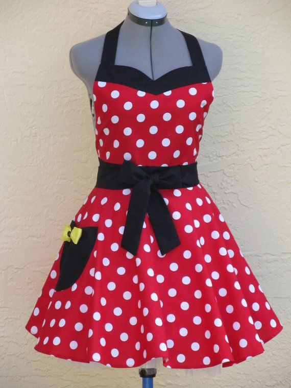 Sweetheart Hostess Apron Mickey Mouse with a by ApronsByVittoria, $36.00