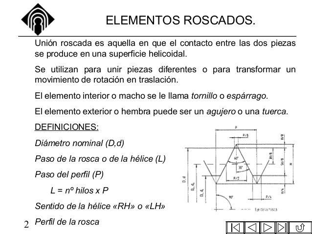 ELEMENTOS ROSCADOS.  Unión roscada es aquella en que el contacto entre las dos piezas  se produce en una superficie helico...