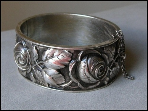 Vintage French silver hallmarked bracelet with a repousse design of roses and leaves | eBay