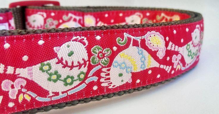 Holiday Birds - Dog Collar / Handmade / Pet Accessories / Adjustable / Christmas by StinkyandSweetPea on Etsy https://www.etsy.com/listing/210650288/holiday-birds-dog-collar-handmade-pet