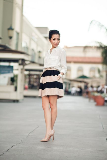 love me some nude:  Minis, Outfit Ideas, Nudes Shoes, White Shirts, Stripes Skirts, Offices Outfit, Nudes Heels, White Blouses, Work Outfit