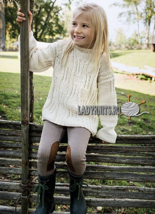 Нарядный джемпер спицами для девочки от 2 до 14 лет, описание: