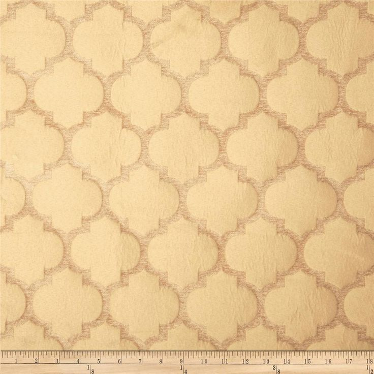 Tempo Pastis Quatrefoil Chenille Wheat from @fabricdotcom  Refresh and modernize an old piece of furniture and update it with a new look. This medium/heavyweight chenille jacquard fabric is appropriate for accent pillows, heavier window treatments, upholstering furniture, headboards and ottomans.