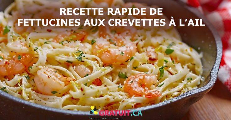 Recette rapide de fettucines aux crevettes à l'ail et au citron