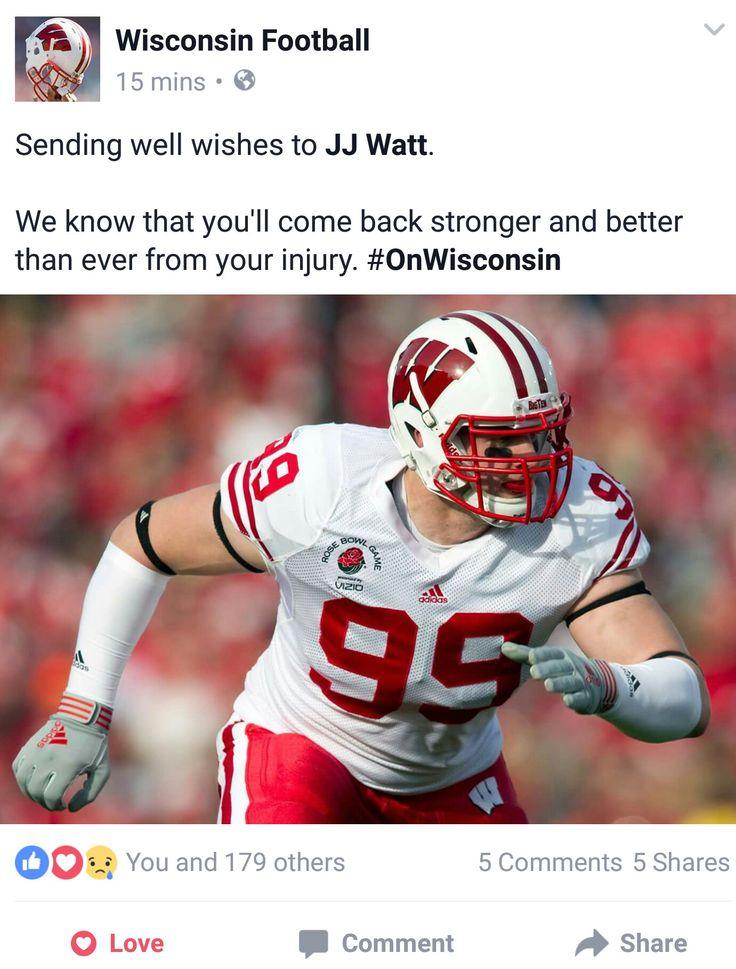 Wisconsin Football Facebook -9.28.16- Get Well Soon JJ! 😔