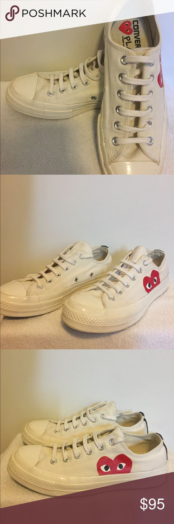 COMME DES GARCONS X CONVERSE CHUCK TAYLOR COMME DES GARÇONS PLAY  X CONVERSE CHUCK TAYLOR.  Cool sneakers.  SZ 6  Mens. SZ 8 Women's.  In great conditions.  No Box. Take a good look at the pictures. If you have any questions feel free to message me.  Thanks in advance.  ALL SALES ARE FINAL Comme des Garcons Shoes Sneakers