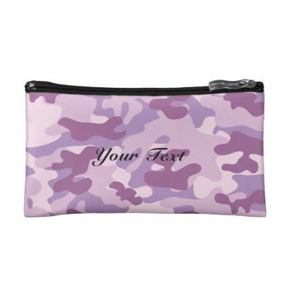 Purple Lilac Color Camouflage Pattern Personalized Makeup Bag - pattern sample design template diy cyo customize