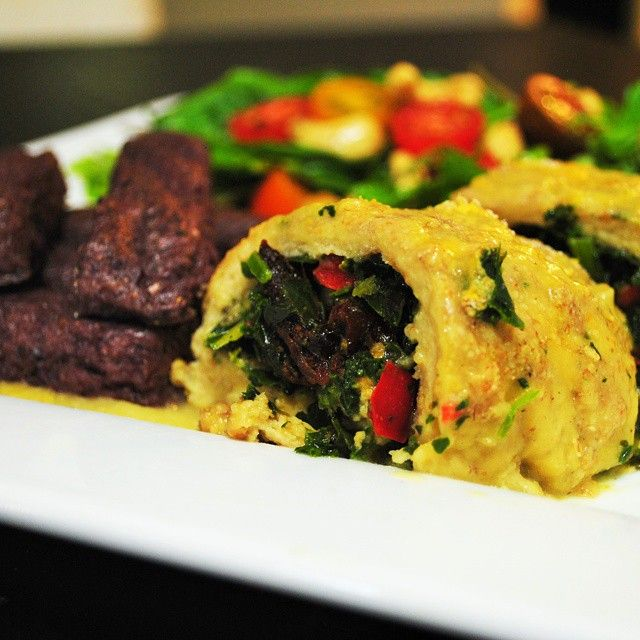 Seitan roulade stuffed with mixed greens, red pepper and ...