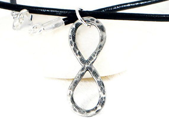 Rustic Sterling Silver Infinity Leather Necklace.