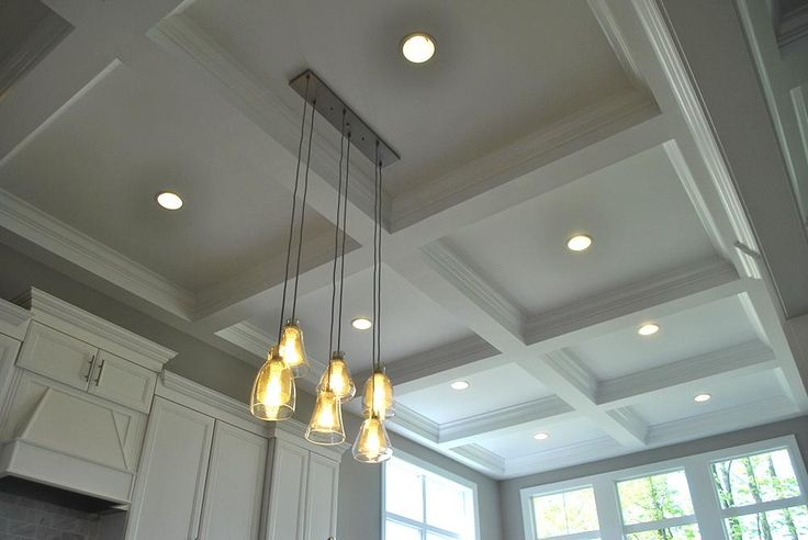 Trim | Photo Gallery | 3 Pillar Homes #Central #Ohio #Custom #Home #Builder #Interior #Design #Dream #Home #Painted #White #Coffered #Ceiling #Pendant #Lighting