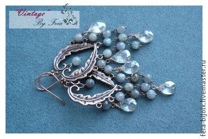 """Серьги """"Графиня"""" с лабрадоритом - серый,серебряный,длинные серьги,шикарное украшение"""