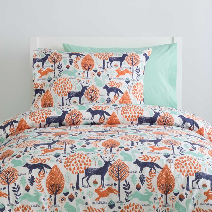 Navy and Orange Woodland Kids Bedding by Carousel Designs.