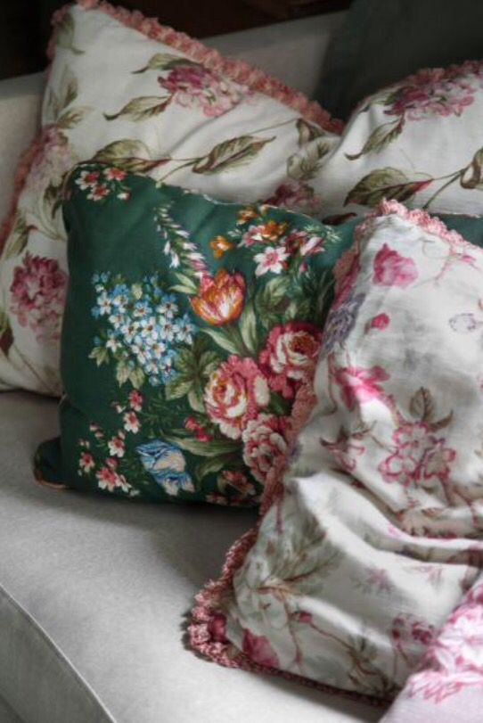 "These flowery pillows are from our feature ""Cool & Collected"""