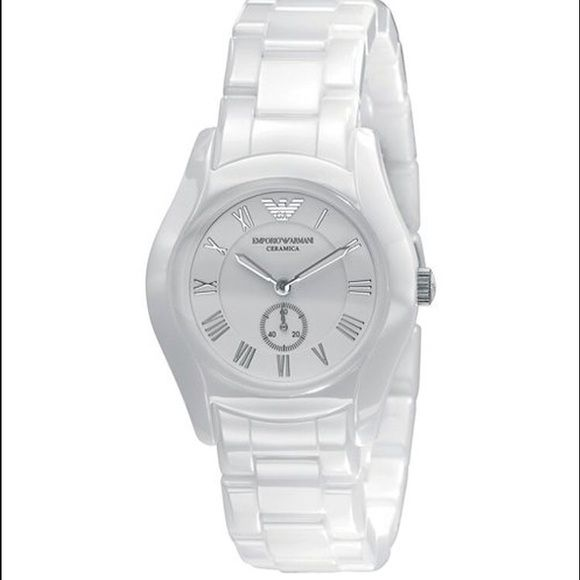 Emporia Armani Ceramic Watch Emporia Armani Ceramic Watch. Work 2-3 times. Hidden clasp. 35mm. Emporio Armani Ladies Watch, White Roman Numeral Dial, Stainless Steel Case and Ceramic Bracelet, Quartz Movement Emporio Armani Accessories Watches