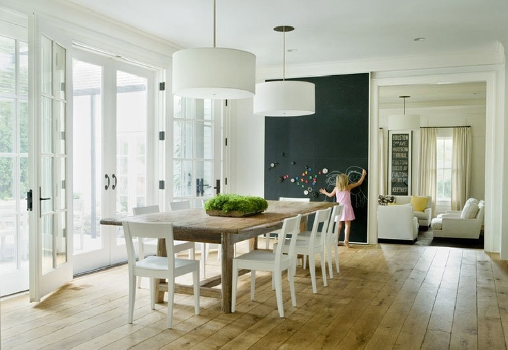 Dinning Room: Dining Rooms, White Chairs, Idea, Floors, Chalkboards Paintings, Chalk Boards, Wood Tables, Dining Tables, Chalkboards Wall