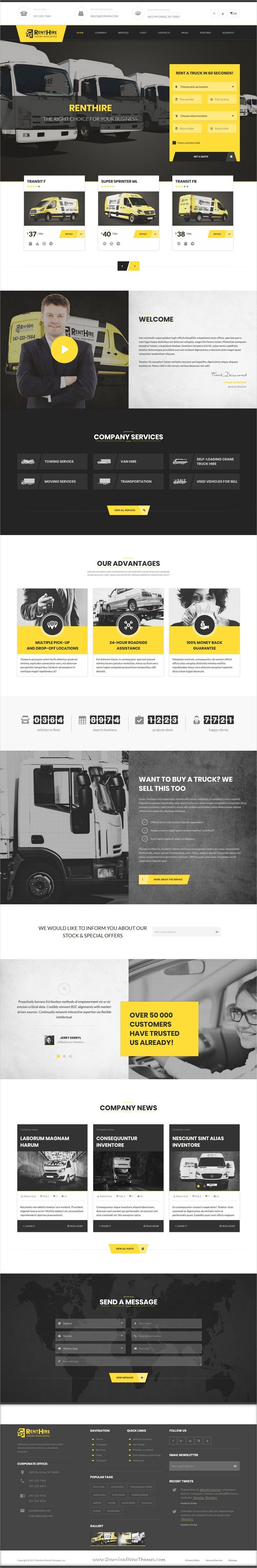 Renthire vehicles rental hire services html template