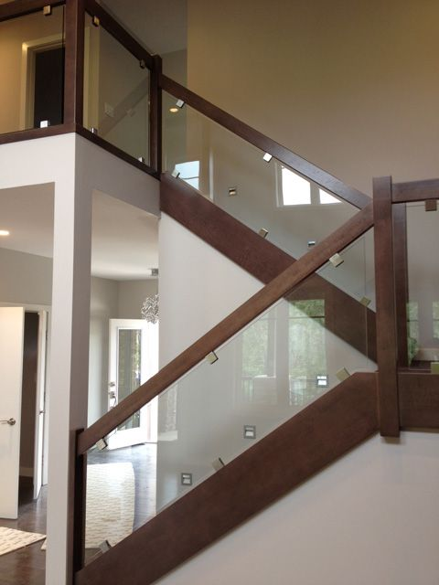 wood railing with tempered glass - Google Search