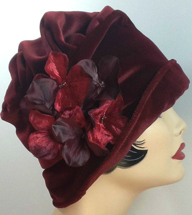 Red Velvet Cloche Hat with Flower Pin, the Alice Size SMALL Ready to ship. $114.50, via Etsy.