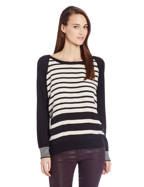 Joie Women's Malena Mixed Stripe Printed Long Sleeve Top